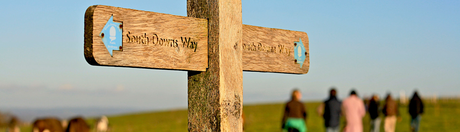 view of a sign pointing the direction of the south downs way